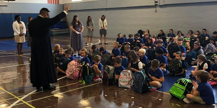 catholic christian school book bag blessing
